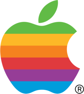 Apple rainbow logo, resurrected for diversity in 2015. By Rob Janoff (1977)