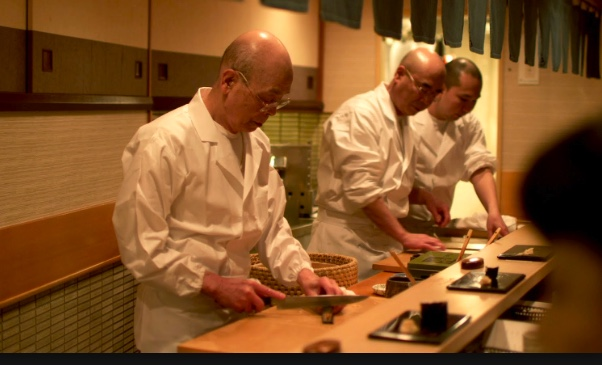 Jiro Ono and team preparing sushi